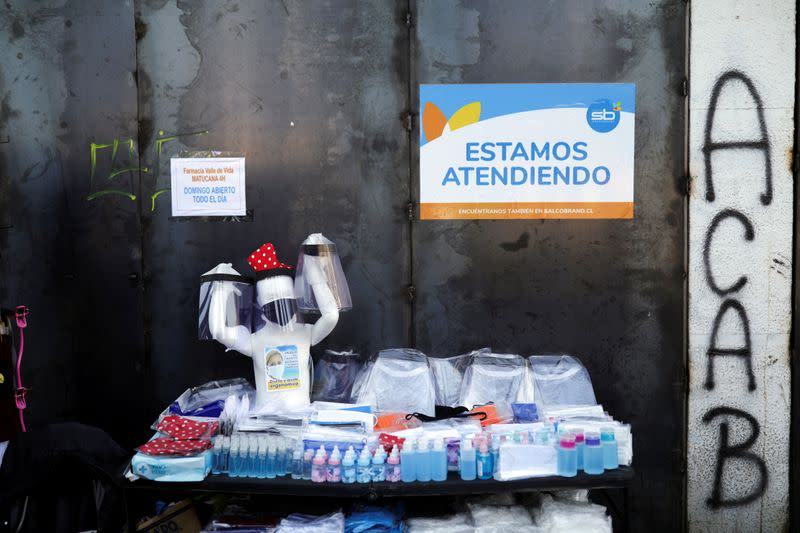 A mannequin with a protective mask is seen at a street vendor's stall, during a preventive quarantine after the outbreak of the coronavirus disease (COVID-19), in Santiago