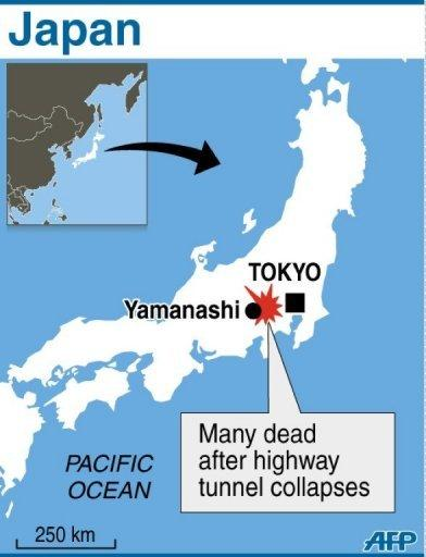 Map locating Yamanashi, near where several people were killed when a highway tunnel collapsed