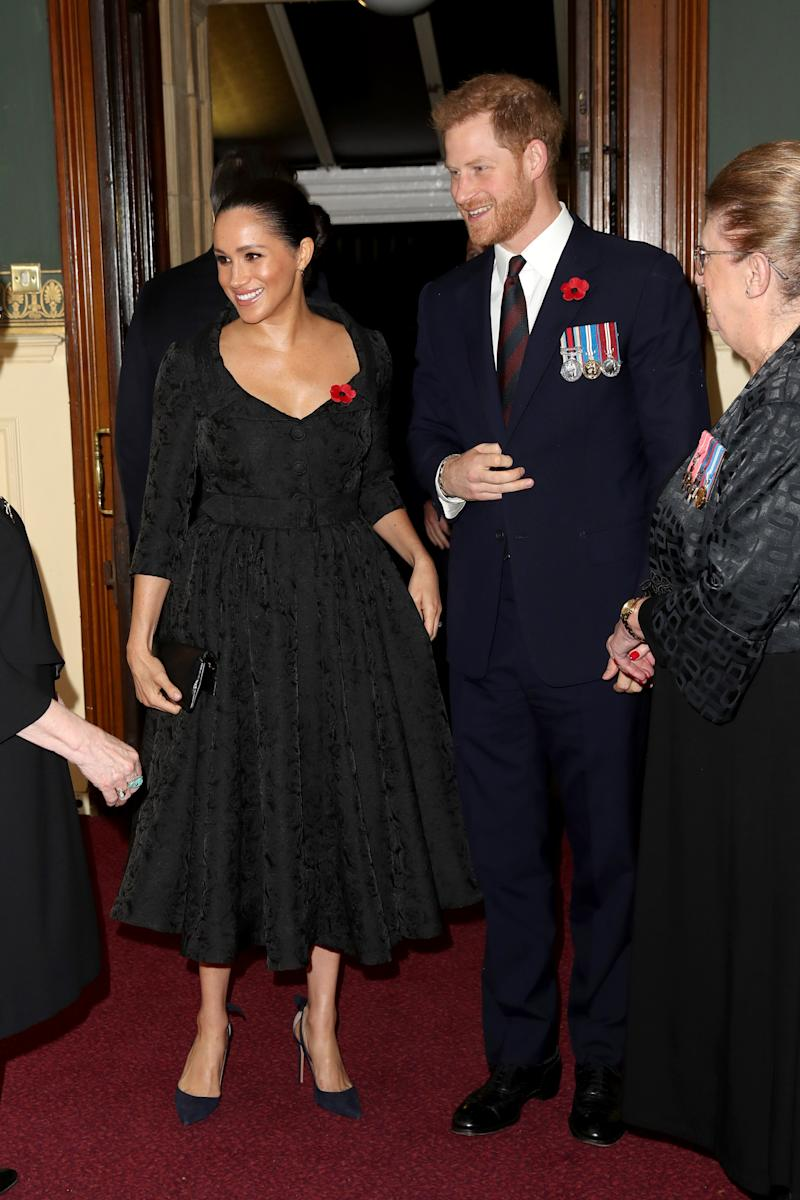 Britain's Meghan, Duchess of Sussex (L) and Britain's Prince Harry, Duke of Sussex, (R) attend the annual Royal British Legion Festival of Remembrance at the Royal Albert Hall in London on November 9, 2019. (Photo by Chris Jackson / POOL / AFP) (Photo by CHRIS JACKSON/POOL/AFP via Getty Images)