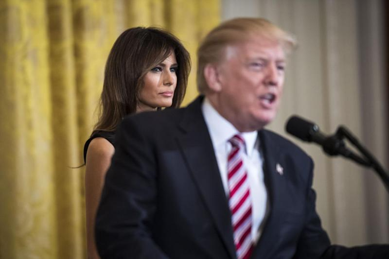 Melania has frequently looked stony-faced of late. Source: Getty