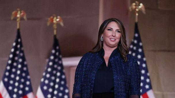 PHOTO: Chair of the Republican National Committee Ronna McDaniel stands on stage in the the Mellon Auditorium while addressing the Republican National Convention on Aug. 24, 2020. in Washington. (Chip Somodevilla/Getty Images, FILE)