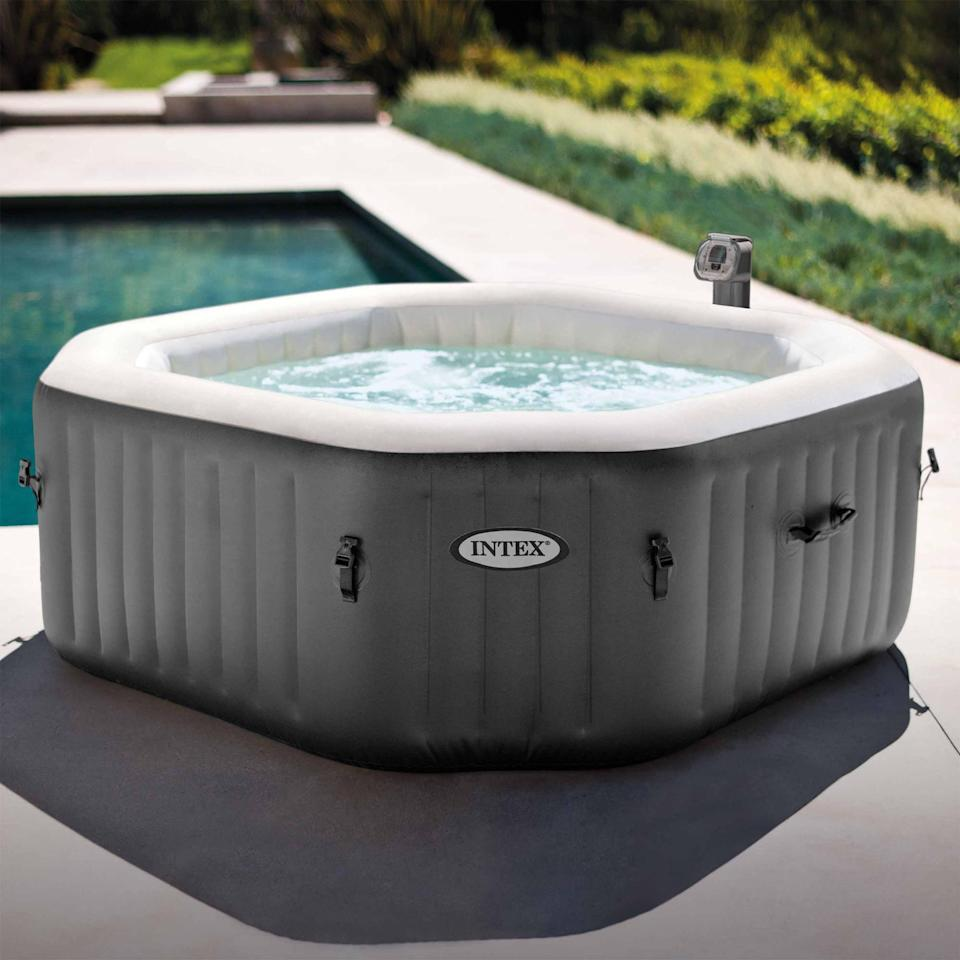 <p>If you've always wanted a hot tub, now's your chance! This <span>Intex 120 Bubble Jets 4-Person Octagonal Portable Inflatable Hot Tub Spa</span> ($345, originally $514) is a dream come true.</p>
