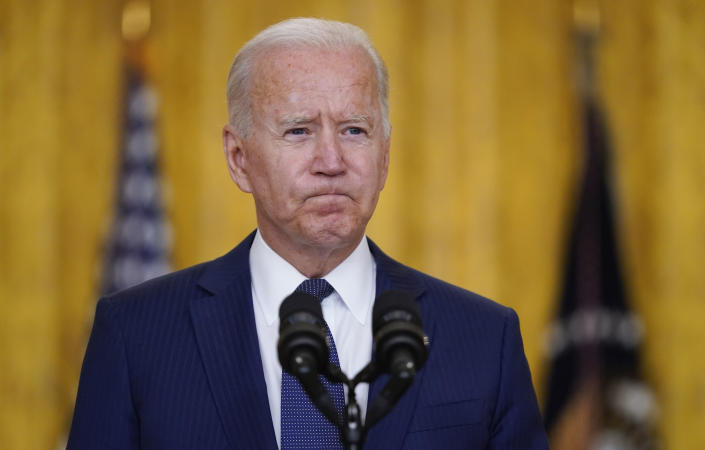 President Joe Biden pauses as he speaks of the Kabul airport bombings that killed at least 12 U.S. servicemen, from the East Room of the White House, Thursday, Aug. 26, 2021 in Washington.  (Evan Vucci/AP)