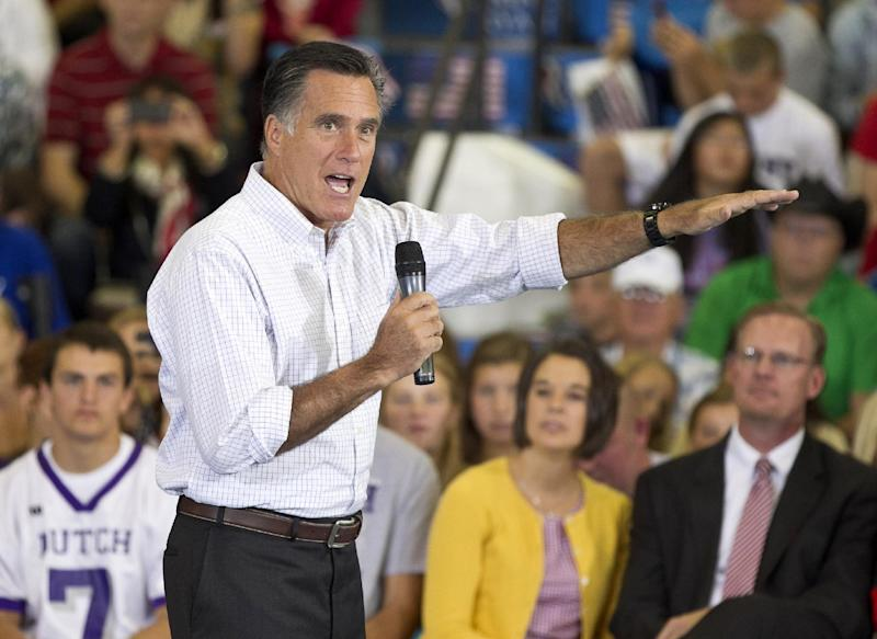 Republican presidential candidate Mitt Romney speaks during a campaign stop in Orange City, Iowa, Friday, Sept. 7, 2012. (AP Photo/Nati Harnik)
