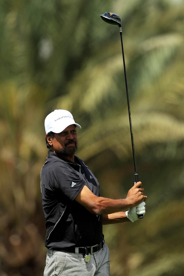 ABU DHABI, UNITED ARAB EMIRATES - MARCH 09:  Kapil Dev in action on the course during the Laureus World Sports Awards Golf Challenge at the Abu Dhabi Golf Club on March 9, 2010 in Abu Dhabi, United Arab Emirates.  (Photo by David Cannon/Getty Images for Laureus)