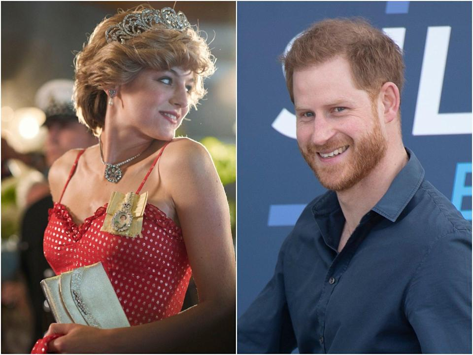 Emma Corrin as Princess Diana in The Crown and Prince Harry (Netflix, Shutterstock)