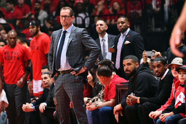 Nick Nurse and his good pal Drake. (Photo by Jesse D. Garrabrant/NBAE via Getty Images)