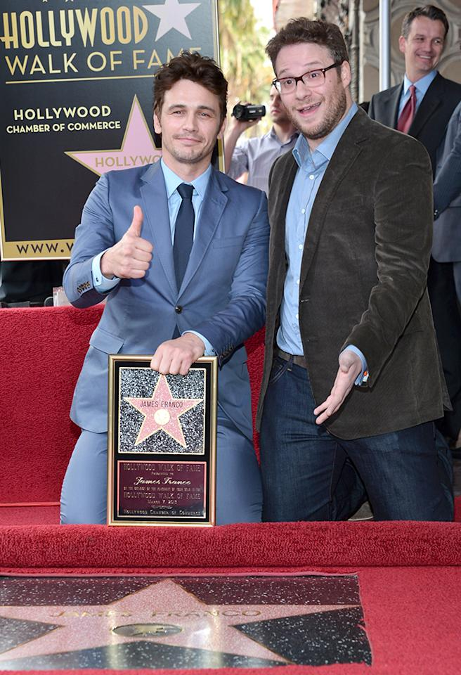 HOLLYWOOD, CA - MARCH 07:  Actors James Franco (L) and Seth Rogen attend a ceremony honoring James Franco with a star on The Hollywood Walk of Fame on March 7, 2013 in Hollywood, California.  (Photo by Alberto E. Rodriguez/WireImage)