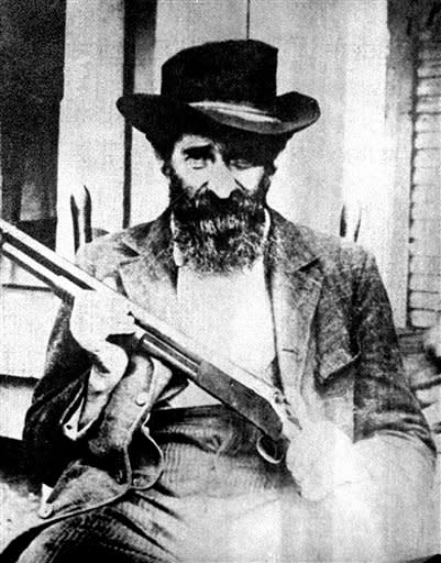 "This an undated file photo of William Anderson ""Devil Anse"" Hatfield. The most infamous feud in American folklore, the long-running battle between the Hatfields and McCoys, may be partly explained by a rare, inherited disease, that McCoy descendants apparently have that can lead to hair-trigger rage and violent outbursts. (AP Photo)"