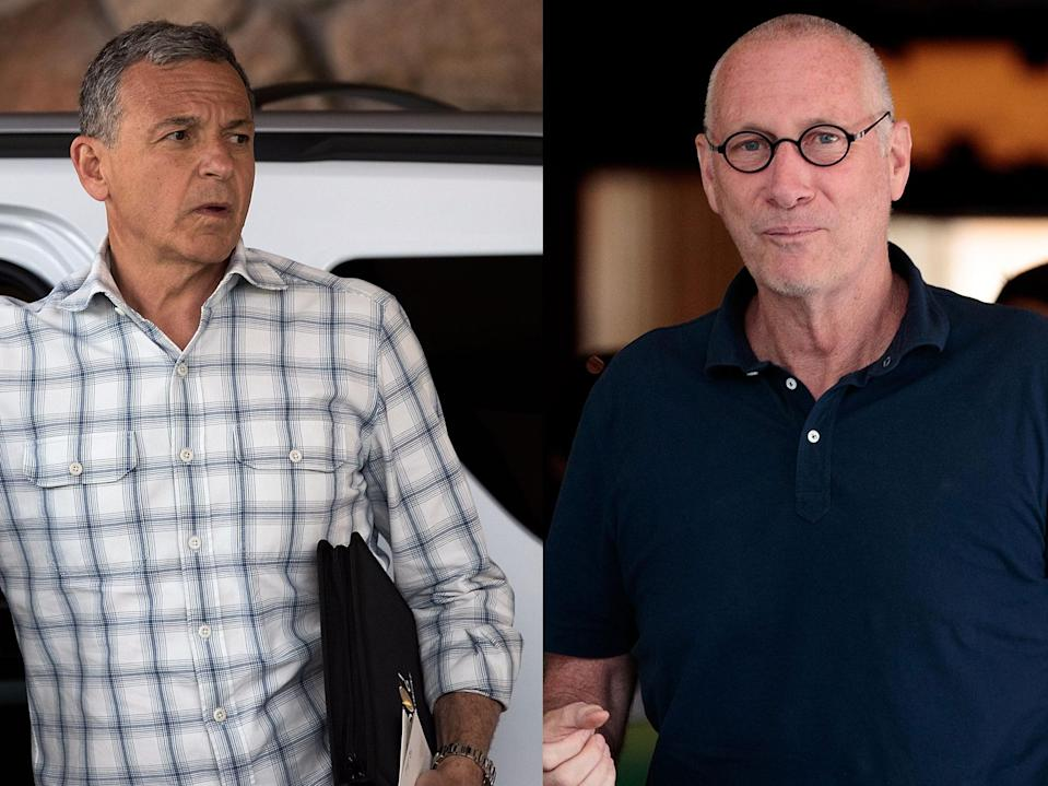 Disney CEO Bob Iger (L) and ESPN president John Skipper arrive, separately, for the 2016 Allen & Co. Sun Valley Conference in Idaho in July 2016. ESPN this month renewed Skipper's contract through 2021. (both photos: Drew Angerer/Getty)