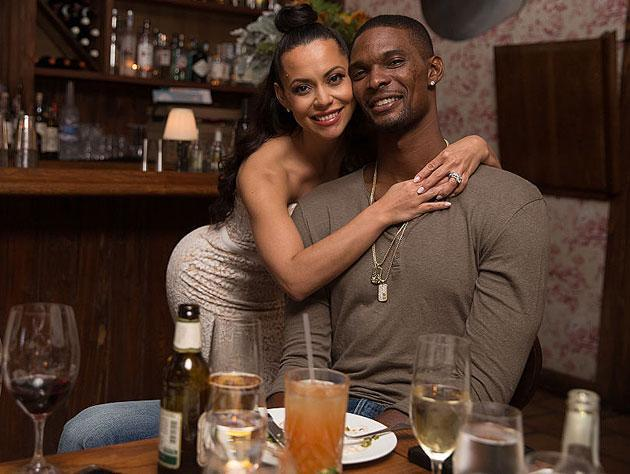 Adrienne and Chris Bosh at a dinner party hosted by Dwyane Wade. (Getty Images)