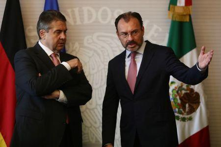 German Foreign Minister Sigmar Gabriel (L) speaks with his Mexican counterpart Luis Videgaray after a private meeting in Mexico City, Mexico, May 19, 2017. REUTERS/Edgard Garrido
