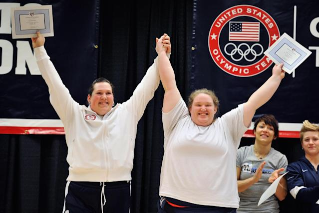 COLUMBUS, OH - MARCH 4: Sarah Roble and Holley Mangold celebrate being named to the U.S. Women's Weightlifting Olympic Team during the 2012 U.S. Olympic Team Trials for Women's Weightlifting on March 4, 2012 in Columbus, Ohio. (Photo by Jamie Sabau/Getty Images)
