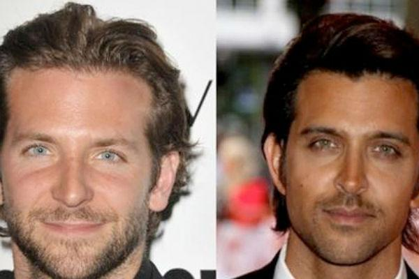 <b>Hrithik Roshan & Bradley Cooper:</b><br>These uber hot dudes bear an almost too-good-to-be-true resemblance to each other. With similar face cuts, eyes and the same hairstyle, they look like brothers separated at our very own 'kumbh ka mela'. They'd smoulder the screen if paired together!