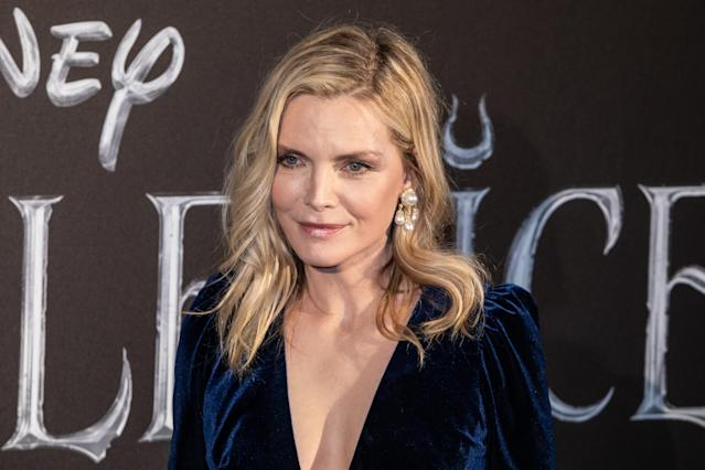 "Michelle Pfeiffer attends the European premiere of the movie ""Maleficent Mistress Of Evil"" at Auditorium della Conciliazione in Rome. (Photo by Cosimo Martemucci/SOPA Images/LightRocket via Getty Images)"
