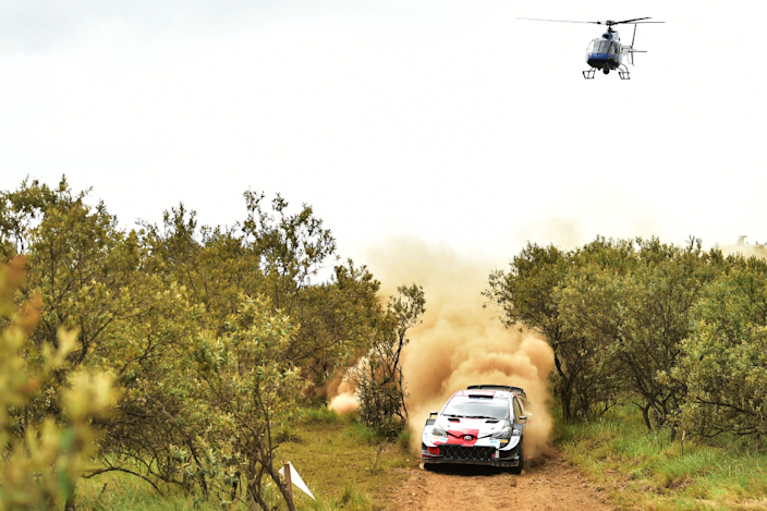 A helicopter about a car being driving by Sebastien Ogier and co-driver Julien Ingrassia during the Safari Rally near Lake Naivasha, Kenya - Friday 25 June 2021