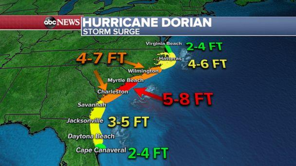 PHOTO: An ABC News weather map shows the forecast for storm surge heights from Hurricane Dorian in the Southeast. (ABC News)