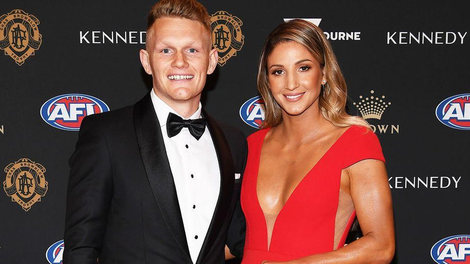 Pictured here are Adam Treloar and Kim Ravaillion at the 2019 Brownlow Medal awards night.