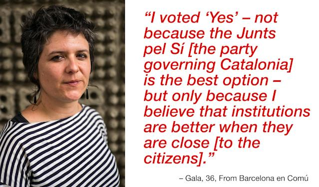 """<p>""""We're talking about carrying out a basic right, the self-determination of populations. The way how the Popular Party has been acting during the last days would deserve a convincing reply. I voted """"Yes"""" not because the Junts pel Sí [the party governing Catalonia] is the best option, but only because I believe that institutions are better when they are close [to the citizens]."""" (Photograph by Jose Colon/ MeMo for Yahoo News) </p>"""