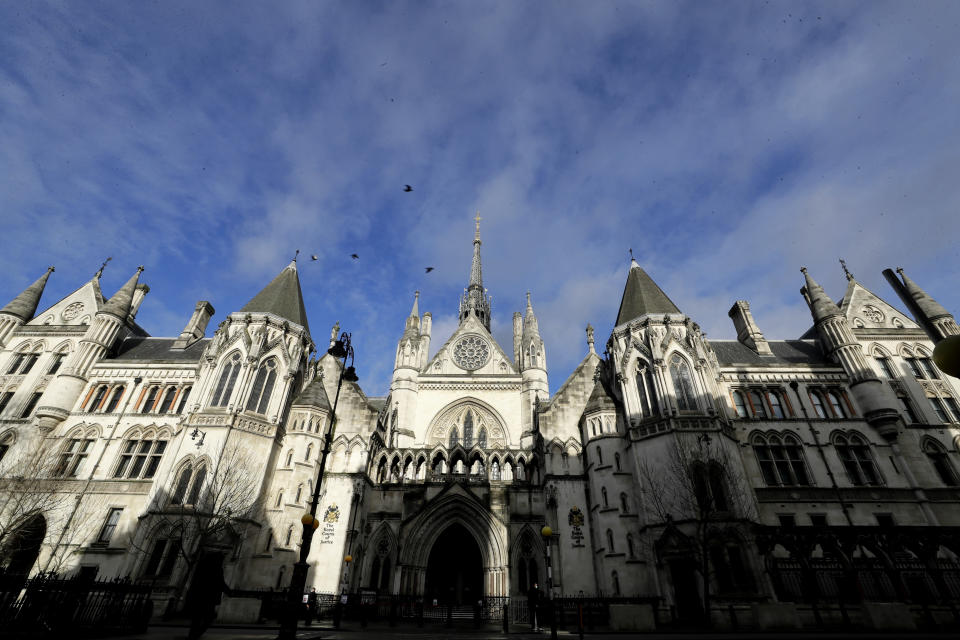 The Royal Courts Of Justice, in London, Tuesday, Jan. 19, 2021. Meghan, The Duchess of Sussex will ask a High Court judge to rule in her favour in her privacy action against the Mail on Sunday over the publication of a handwritten letter to her estranged father. The case will be heard remotely due to the pandemic. (AP Photo/Kirsty Wigglesworth)