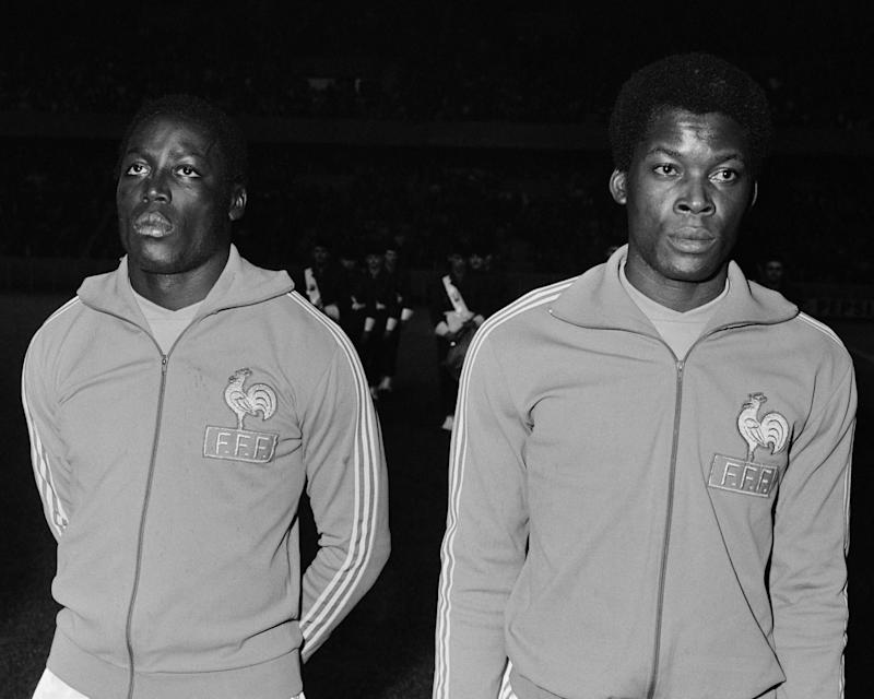 (L-R) Famous French central soccer defenders Jean-Pierre Adams and Marius Tresor. (Photo by Universal/Corbis/VCG via Getty Images)