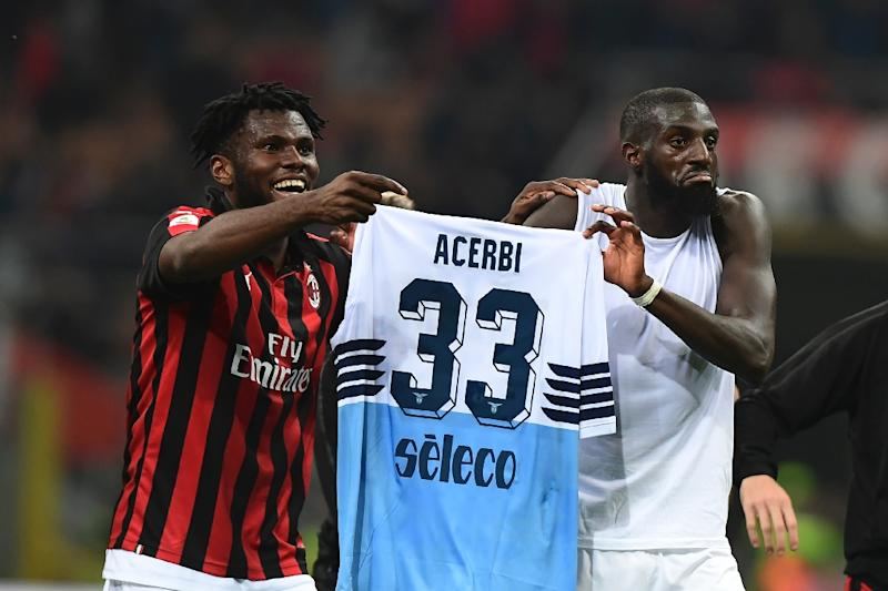 "AC Milan claimed ""recurring chants and monkey noises"" aimed at Franck Kessie (L, pictured April 13, 2019) and Tiemoue Bakayoko (R) ""could be heard coming away from the stand before, during and after the match"""
