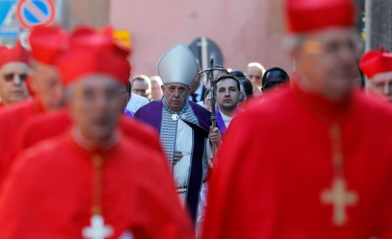 Pope Francis takes part in the penitential procession on Ash Wednesday in Rome