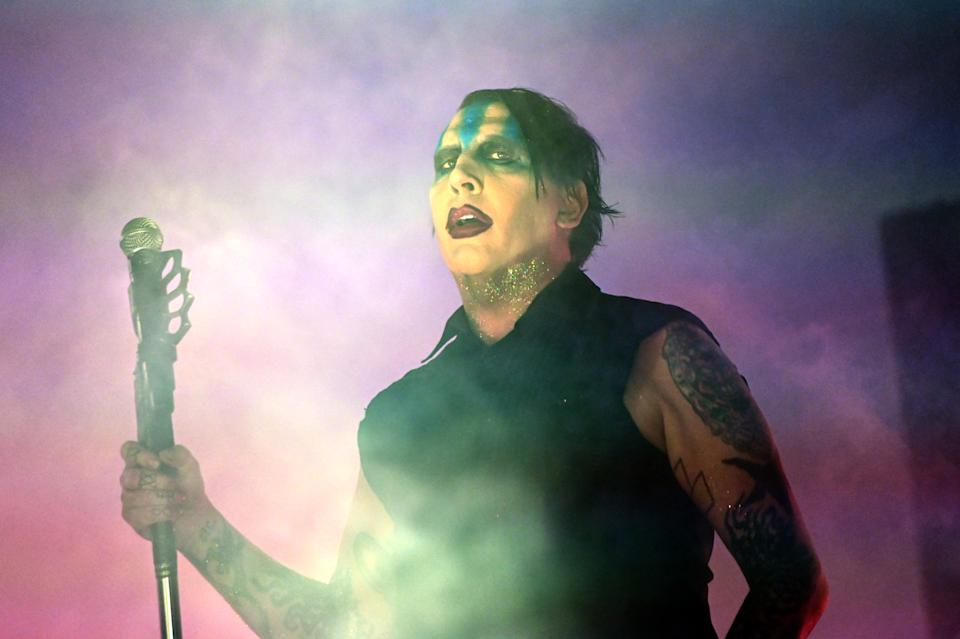 LOUISVILLE, KENTUCKY - SEPTEMBER 29: Marilyn Manson performs during the 2019 Louder Than Life Music Festival at Highland Festival Grounds at Kentucky Expo Center on September 29, 2019 in Louisville, Kentucky. (Photo by Stephen J. Cohen/Getty Images)