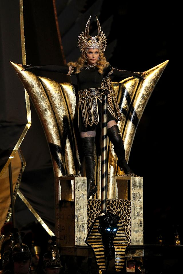 INDIANAPOLIS, IN - FEBRUARY 05:  Singer Madonna performs during the Bridgestone Super Bowl XLVI Halftime Show at Lucas Oil Stadium on February 5, 2012 in Indianapolis, Indiana.  (Photo by Andy Lyons/Getty Images)