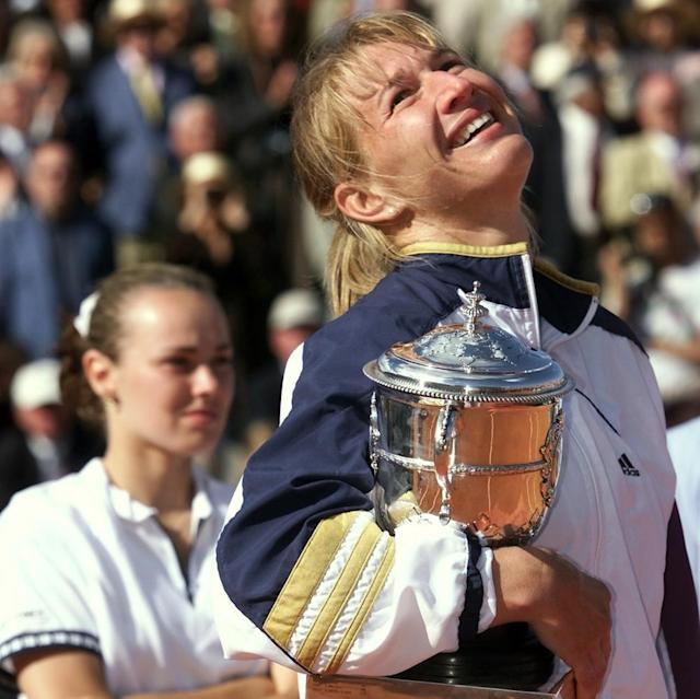 """<span class=""""element-image__caption"""">Graf savours her final grand slam title, at the French Open in 1999, as Martina Hingis looks on.</span> <span class=""""element-image__credit"""">Photograph: Thomas Coex/EPA</span>"""