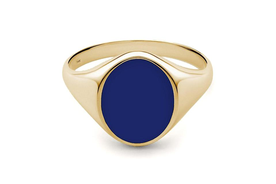 """Maybe you're a gold chain guy, maybe you're a pinky ring person (we know we are). Whatever your preference, every man should own a piece of jewelry that isn't a wedding band or watch.<br> <br> <em>Miansai heritage ring</em> $165, Miansai. <a href=""""https://www.miansai.com/collections/men-rings/products/heritage-ring-gold-vermeil-wenamel-polished?variant=29578551885939"""" rel=""""nofollow noopener"""" target=""""_blank"""" data-ylk=""""slk:Get it now!"""" class=""""link rapid-noclick-resp"""">Get it now!</a>"""
