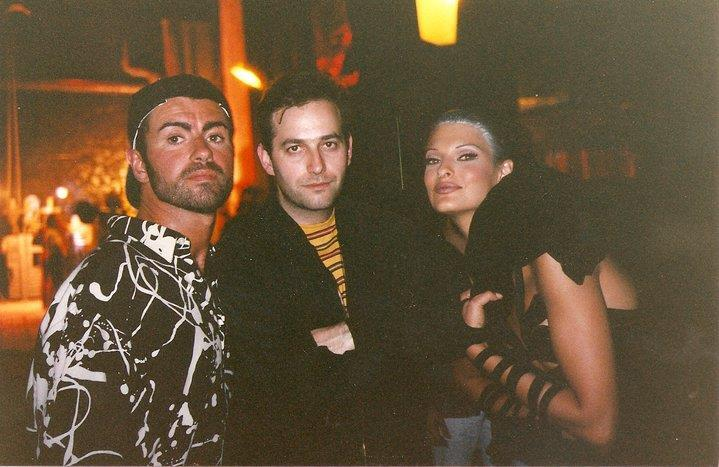 Publicist Michael Pagnotta with George Michael and Linda Evangelista on the set of the