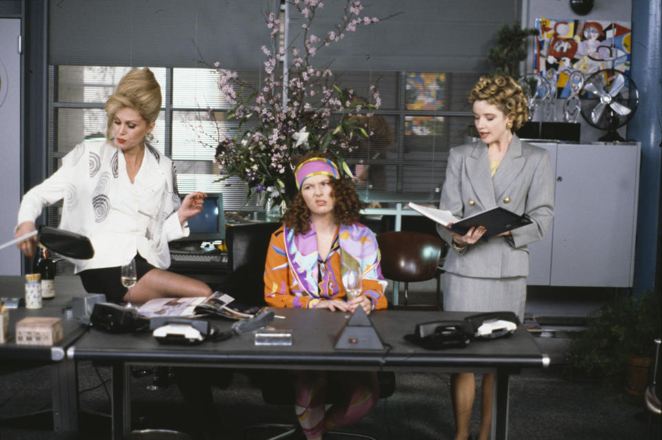 Actresses (L-R) Joanna Lumley, Jennifer Saunders and Jane Horrocks in an office scene from the BBC television sitcom 'Absolutely Fabulous', March 4th 1992. (Photo by Don Smith/Radio Times/Getty Images)