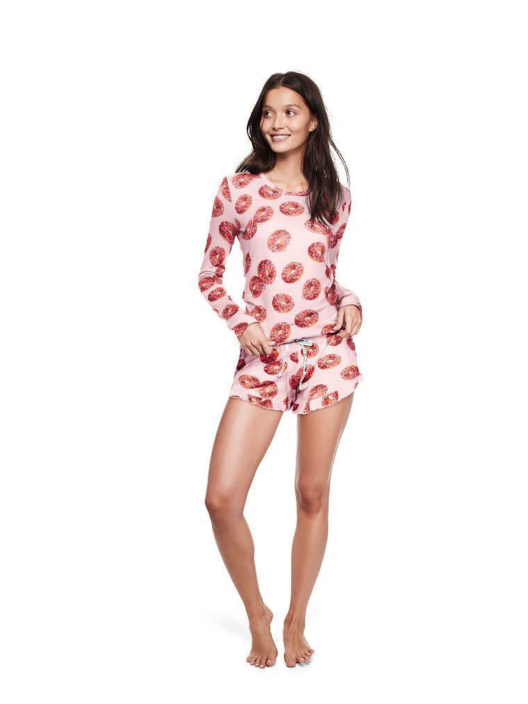 "<i>Buy the full set from <a href=""https://www.victoriassecret.com/pink/pjs-and-sleepwear/cozy-jersey-sleep-short-pink?ProductID=357143&amp;CatalogueType=OLS"" rel=""nofollow noopener"" target=""_blank"" data-ylk=""slk:Victoria's Secret"" class=""link rapid-noclick-resp"">Victoria's Secret</a> for $57.90 (<a href=""https://www.victoriassecret.com/pink/pjs-and-sleepwear/cozy-jersey-sleep-shirt-pink?ProductID=353974&amp;CatalogueType=OLS"" rel=""nofollow noopener"" target=""_blank"" data-ylk=""slk:top"" class=""link rapid-noclick-resp"">top</a> and <a href=""https://www.victoriassecret.com/pink/pjs-and-sleepwear/cozy-jersey-sleep-short-pink?ProductID=357143&amp;CatalogueType=OLS"" rel=""nofollow noopener"" target=""_blank"" data-ylk=""slk:bottom"" class=""link rapid-noclick-resp"">bottom</a> sold separately).&nbsp;</i>"