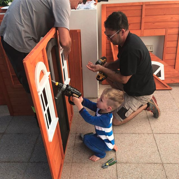 Son Hunter was keen to get hands on and help put it together. Photo: Instagram