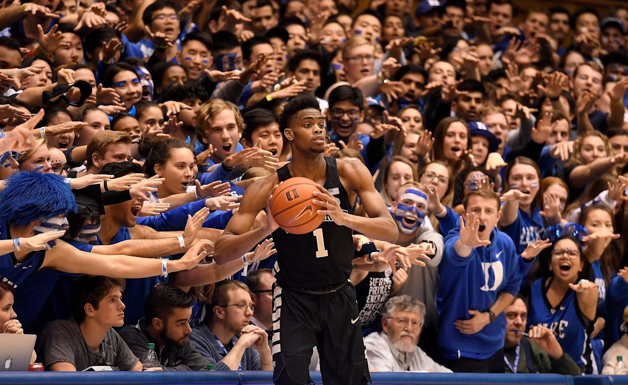 DURHAM, NORTH CAROLINA - MARCH 05: The Cameron Crazies taunt Isaiah Mucius #1 of the Wake Forest Demon Deacons during the second half of their game against the Duke Blue Devils at Cameron Indoor Stadium on March 05, 2019 in Durham, North Carolina. Duke won 71-70. (Photo by Grant Halverson/Getty Images)