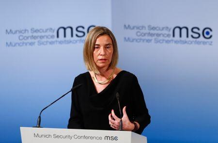 EU High Representative for Foreign Affairs Mogherini delivers her speech during the 53rd Munich Security Conference in Munich