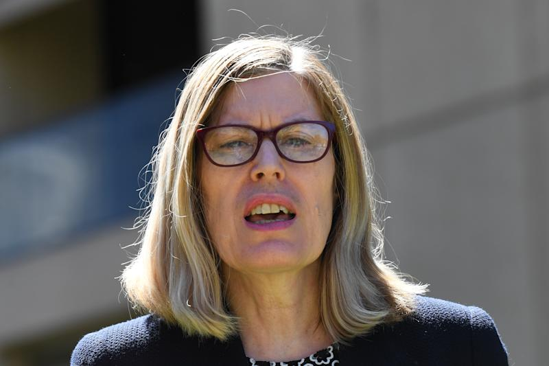 NSW Chief Health Officer Dr Kerry Chant provides an update on COVID-19 during a press conference at NSW State Parliament in Sydney, Wednesday, March 18, 2020. (AAP Image/Dean Lewins) NO ARCHIVING