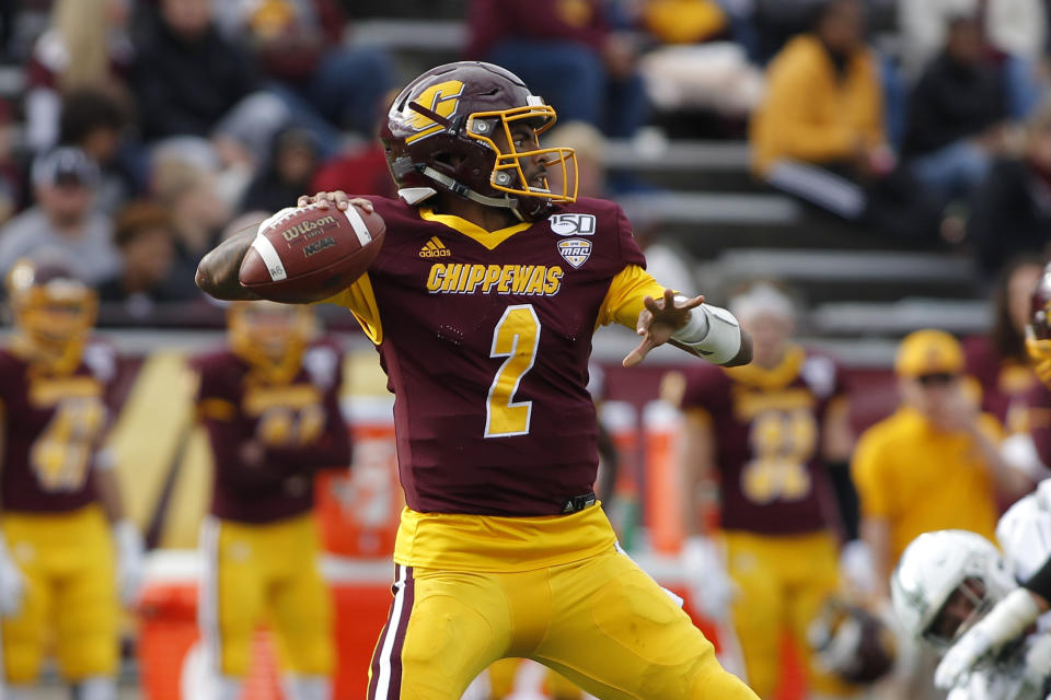 Central Michigan quarterback David Moore looks to throw against Eastern Michigan during an NCAA football game on Saturday, Oct. 5, 2019, in Mount Pleasant, Mich. (AP Photo/Al Goldis)