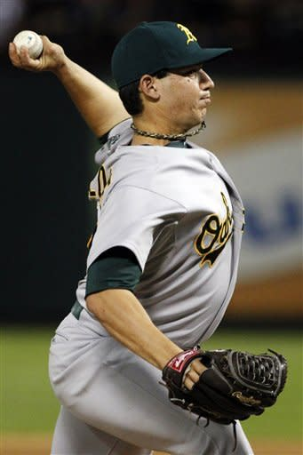 Oakland Athletics starting pitcher Tommy Milone delivers to the Texas Rangers in the sixth inning of a baseball game, Tuesday, Sept. 25, 2012, in Arlington, Texas. (AP Photo/Tony Gutierrez)