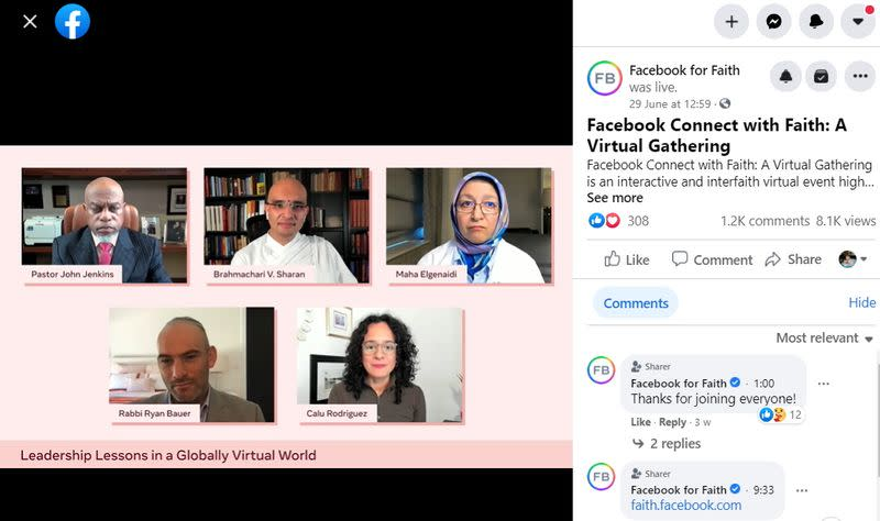 Video from Facebook's virtual faith gathering with religious leaders on June 29, 2021, is seen in this screenshot