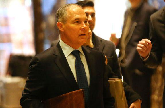 "Trump's pick to head the EPA, Oklahoma Attorney General Scott Pruitt, calls himself a ""leading advocate"" against the agency's climate policies. In this picture, Pruitt arrives at Trump Tower in New York on Dec.7, 2016."