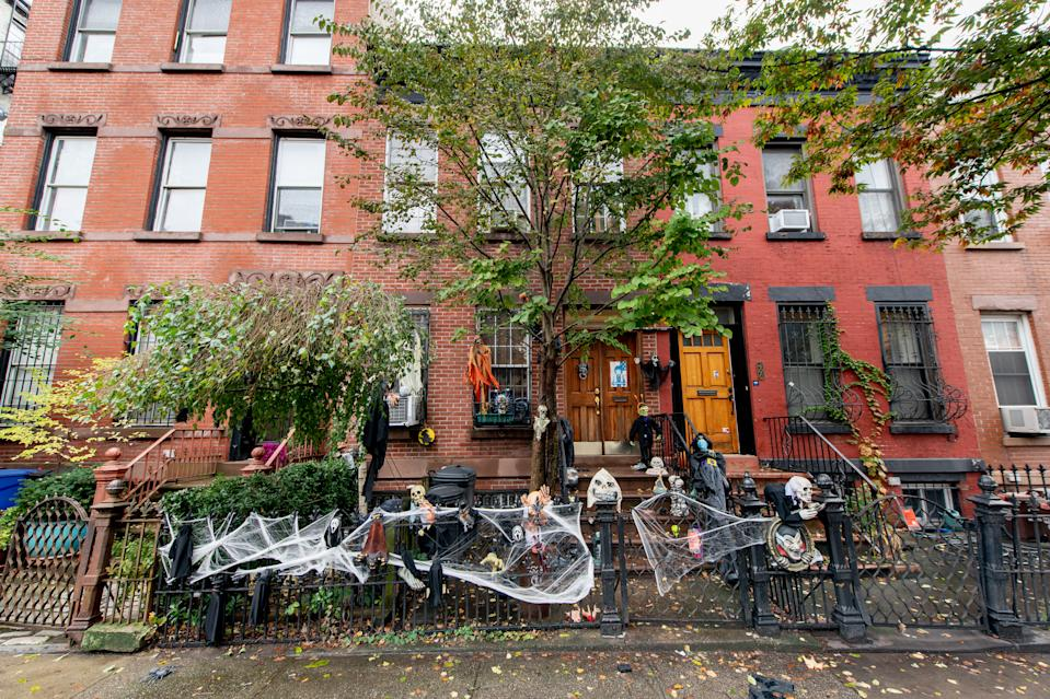 A home in Park Slope in Brooklyn is decorated in celebration of Halloween on October 30, 2020 in New York City.