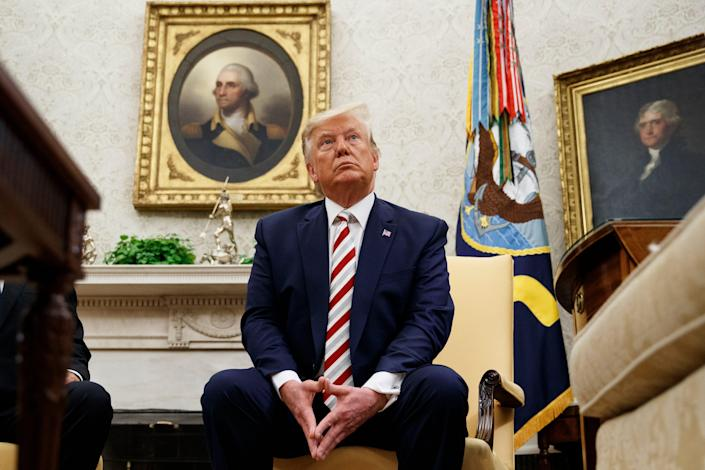 President Donald Trump will be suspended on Tuesday, August 20, 2019, during a meeting with Romanian President Klaus Iohannis in the White House's Oval Office in Washington.