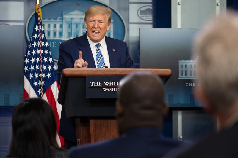US President Donald Trump gestures as he speaks during a Coronavirus Task Force press briefing at the White House in Washington, DC, on April 19, 2020. (Photo by JIM WATSON / AFP) (Photo by JIM WATSON/AFP via Getty Images)