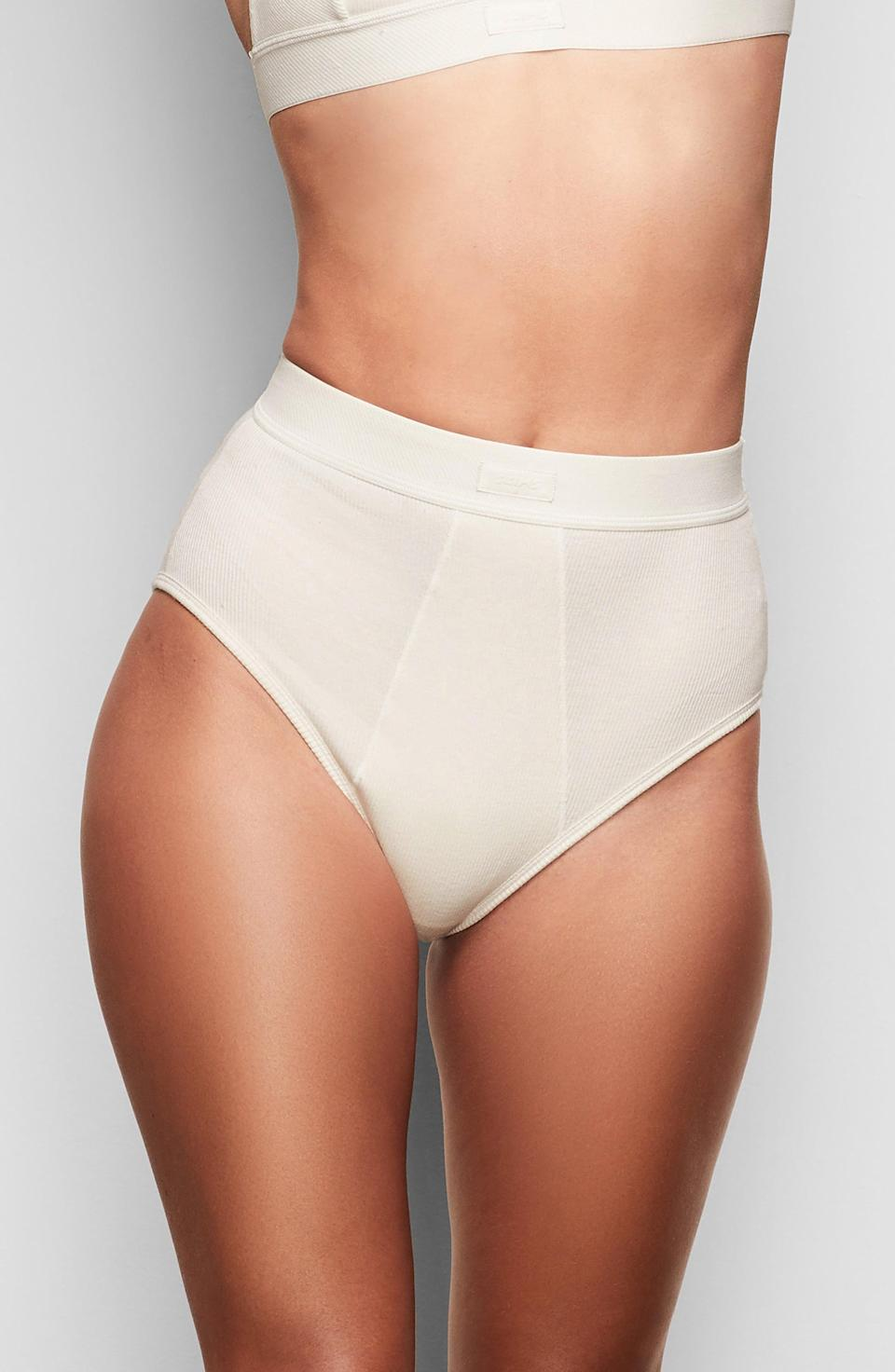"""<h3>Skims Cotton Rib Brief<br></h3><br><br><strong>The Most Supportive</strong><br><br>We know that Kim K. spent many moons engineering top-notch underwear of many varieties for her intimates brand Skims, and it looks like her hard work paid off — these super-soft cotton rib briefs have reviewers sitting pretty. (And comfortably.) Customers love this cotton underwear's fit and light support. <br><br><strong>The Hype: </strong>4.6 out of 5 stars; 380 reviews on <a href=""""https://skims.com/products/cotton-rib-brief-bone"""" rel=""""nofollow noopener"""" target=""""_blank"""" data-ylk=""""slk:Skims.com"""" class=""""link rapid-noclick-resp"""">Skims.com</a><br><br><strong>What They Are Saying:</strong> """"I feel secure but also cute in these. They have perfect support where I need it. They're nice and thick without being too thick. I am blown away by how much I love these. Seriously, if you spend this much on underwear from other brands, then you need to get these. All in all, they're not even that expensive — I'm surprised they're as low cost as they are."""" — Da Asha Z., Skims.com reviewer<br><br><strong>Skims</strong> Cotton Rib Briefs, $, available at <a href=""""https://go.skimresources.com/?id=30283X879131&url=https%3A%2F%2Fskims.com%2Fproducts%2Fcotton-rib-brief-bone"""" rel=""""nofollow noopener"""" target=""""_blank"""" data-ylk=""""slk:Skims"""" class=""""link rapid-noclick-resp"""">Skims</a>"""