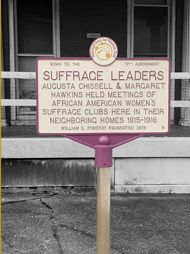 In front of the houses where Margaret Hawkins and Augusta Chissell lived stands a historical marker that highlights the suffrage efforts in and around the homes. It's one of 11 honoring Maryland women, events and sites associated with the suffrage movement.