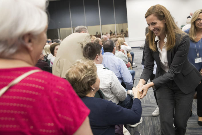 Democratic congressional candidate Mikie Sherrill greets voters during a candidate forum at the UJC of MetroWest New Jersey on Tuesday, Oct. 9, 2018, in Whippany, N.J. (Photo: Mary Altaffer/AP)