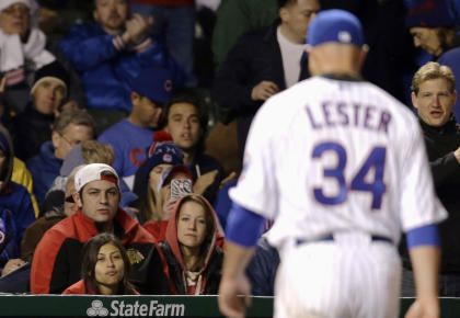 Jon Lester couldn't even make it through the fifth inning of his debut with the Cubs. (AP)