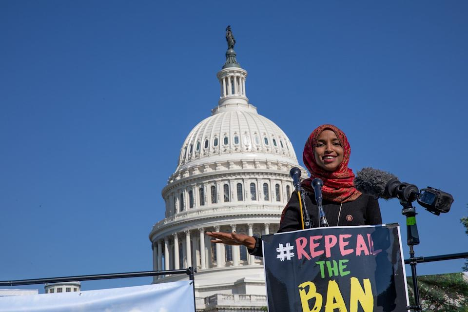 Congresswoman Ilhan Omar speaks during a demonstration against Donald Trump's travel ban for Muslims in 2019. (Photo: Anadolu Agency via Getty Images)